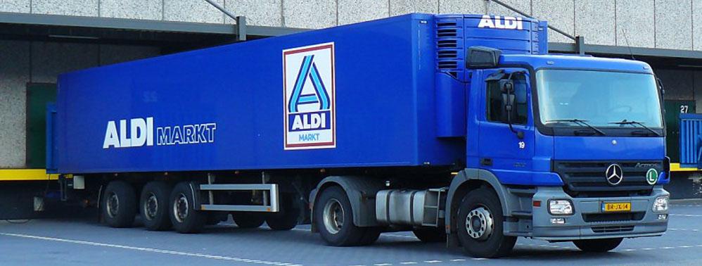 Belettering vrachtwagen Aldi
